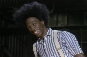 Eddie Murphy in costume for Buckwheat scene on Saturday Night Live. (Screenshot from Yahoo.com)