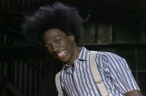 Eddie Murphy in costume for Buckwheat scene on Saturday Night Live. (Screenshot from Yahoo.com)